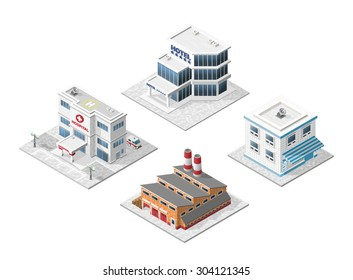 Set of 4 Isometric High Quality City Elements with 45 Degrees Shadows on White Background. Hospital , Hotel , Factory and Restaurant