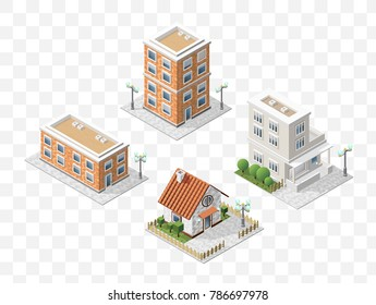 Set of 4 Isometric High Quality City Elements with 45 Degrees Shadows on Transparent Background . Residential
