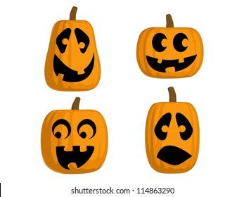 A set of 4 Jack O Lanterns (Silly)