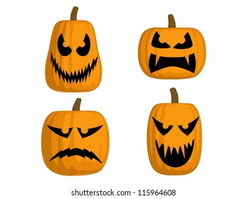 A set of 4 Jack O Lanterns (Scary)