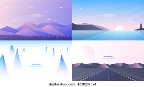 Set of 4 landscapes in flat minimalist style. Forest and mountains, sunset scene with lighthouse, misty peaks, road in perspective with hills. Website or game templates. Summer scene. Tourism concept