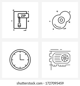Set of 4 Line Icon Signs and Symbols of file; egg; file format; compressed; clock Vector Illustration