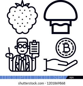 Set of 4 market outline icons such as raspberry, clerk, bitcoin
