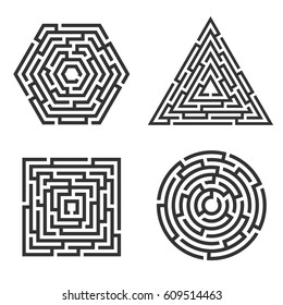 Set of 4 maze - square, circle, triangle, hexagon icon. Business concept. Labyrinth vector illustration.