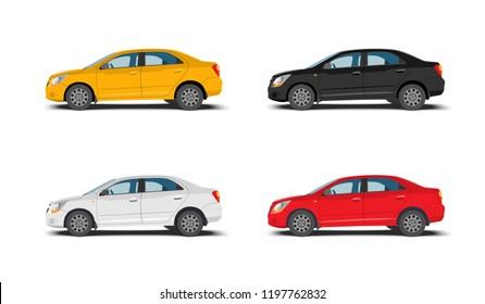 Set of 4 modern cars, vector illustration