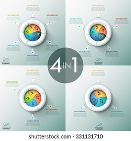 Set of 4 modern infographics options banner with spiral pie charts and icons. Vector. Can be used for web design and  workflow layout