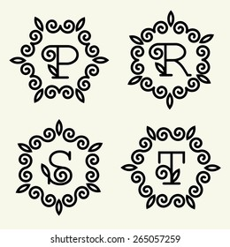 Set 4 of modern monogram style linear with the letters p, r, s, t