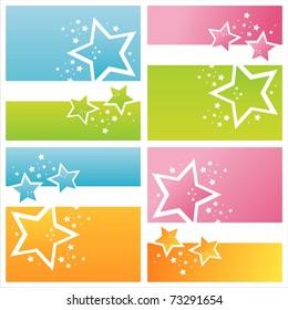 set of 4 modern stars backgrounds