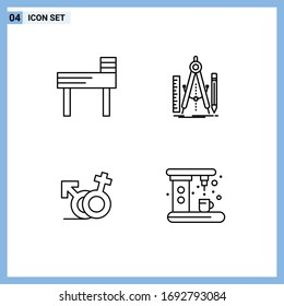 Set of 4 Modern UI Icons Symbols Signs for chair; symbol; build; math; female Editable Vector Design Elements