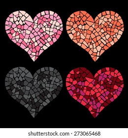 Set of 4 mosaic hearts. Collection for romantic design. Easy to recolor hearts. Ceramic tile texture.