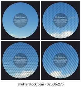 Set of 4 music album cover templates. Blue cloudy sky. Collection of abstract multicolored backgrounds. Natural geometrical patterns. Triangular and hexagonal style vector illustration.