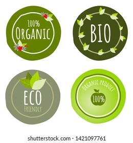 Set of 4 Organic Product or food logo badge in green tone on white background