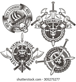Set of 4 original Viking emblems. The logos on the theme of the Scandinavian warriors.