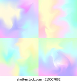 Set of 4 pastel rainbow backgrounds, hologram inspired abstract backdrops