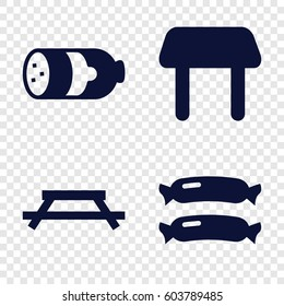 Set of 4 picnic filled icons such as sausage
