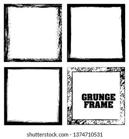 Set of 4 pieces grunge frame.Grunge borders.Vector brush strokes.