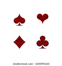 Set of 4 Playing card suits icons decoration pattern diamonds, clovers, hearts, spades template black and red. Playing card suit ornament symbol pictogram for poker casino isolated on white background