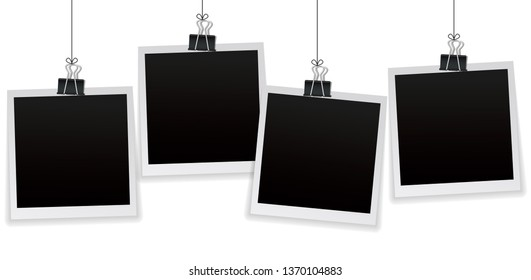 Set of 4 Polaroid vintage photo frames hanging on a clip. Vintage style. Polaroid  Vector illustration. Photorealistic Vector EPS10 mockups. Polaroid Retro photo frame templates hanging on wall