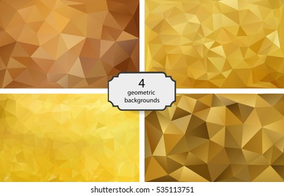 set of 4 polygonal backgrounds. gold background.