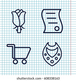 Set of 4 present outline icons such as necklace, rose, bill of house sell