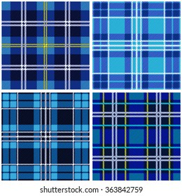 Set of 4 seamless checkered vector patterns. Blue and black tartans with white and yellow stripes. Retro textile collection. Backgrounds & textures shop.