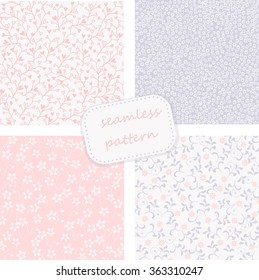 set of 4 seamless floral patterns