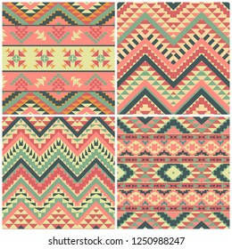 Set of 4 seamless geometric ethnic patterns, vector illustration
