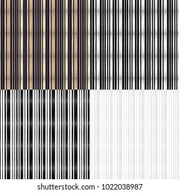 Set of 4 Seamless geometric patterns. Stripes texture. Bright colors and simple shapes. Trendy seamless pattern designs.