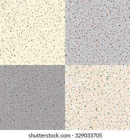 Set 4 Seamless Grunge Flecked Stone Texture with various variants of color. Vector Illustration.