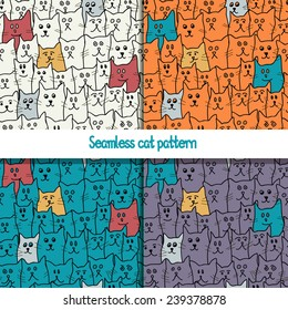 Set of 4 seamless pattern with cute funny cats in cartoon style. Vector illustration.