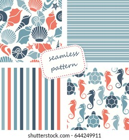 Set of 4 seamless patterns in marine style. Hand drawn. Vector illustration can be used for ceramic tile, wallpaper, textile, invitation, greeting card, web page background