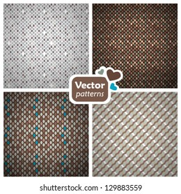 A set of 4 seamless patterns. Vector backgrounds.