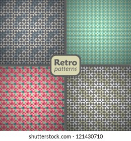 A set of 4 seamless retro patterns. Vector backgrounds.