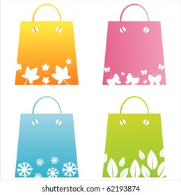 set of 4 seasonal shopping bags