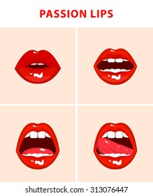 Set of 4 sexy open mouths, tongue hanging out, red erotic seductive lips, passion