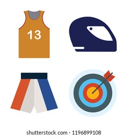 Set of 4 simple vector icons such as Football jersey, Racing Helmet, Boxing shorts, Archery, editable pack for web and mobile