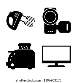 Set of 4 simple vector icons such as Mixer, Camcorder, Toster, Television, editable pack for web and mobile