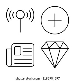 Set of 4 simple vector icons such as Wifi, Plus, Newspaper, Diamond, editable pack for web and mobile