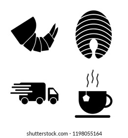 Set of 4 simple vector icons such as Shrimp, Salmon, Delivery, Tea, editable pack for web and mobile