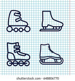 Set of 4 skating outline icons such as skate rollers, ice skate