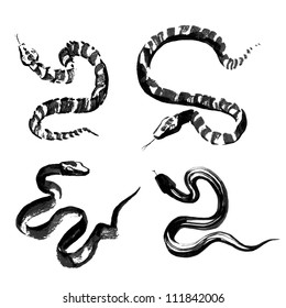 Set of 4 Snakes in the style of traditional Chinese ink painting