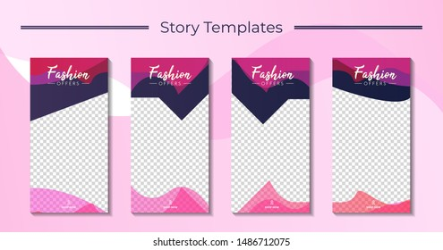 Set 4 of Social Media networks Stories Sale Banner Background, Mobile App, Poster, Flyer, Coupon, Gift Card, Smartphone Template, with Liquid Abstract Modern Gradient. editable template eps 10 vector