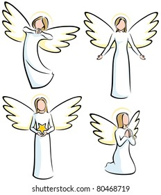 Set of 4 stylized angels.