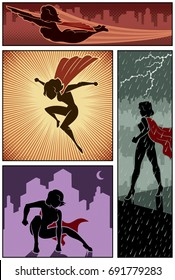 Set of 4 super heroine banners.