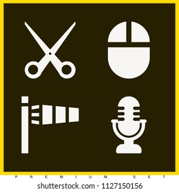 Set of 4 tool filled icons such as mic, mouse filled tool, scissors