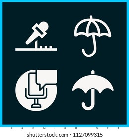 Set of 4 tools filled icons such as mic, umbrella black silhouette, umbrella hand drawn opened outline