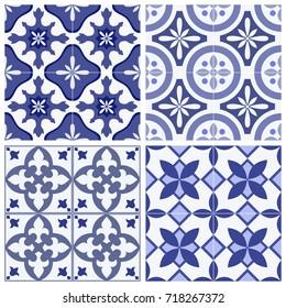 Set of 4 traditional ornate portuguese oriental geometric ceramic tiles azulejos. Vintage Lisbon tiles collection. Vector hand drawn illustration texture.