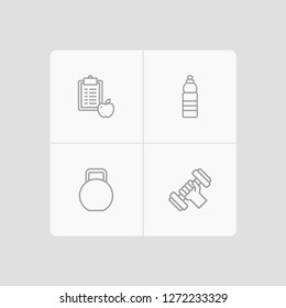 Set of 4 training icons line style set. Collection of drink, regime, weights and other elements.