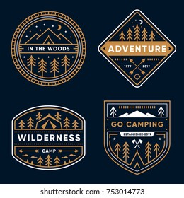 Set of 4 tree line art camp badges