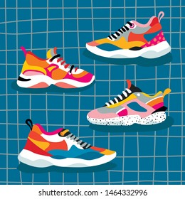 Set of 4 ugly shoes sneakers. Bright massive sneakers in pink-orange colors depicted on a blue background.